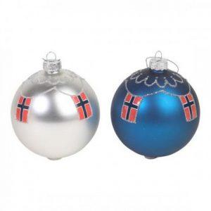 Blå julekule med norske flagg