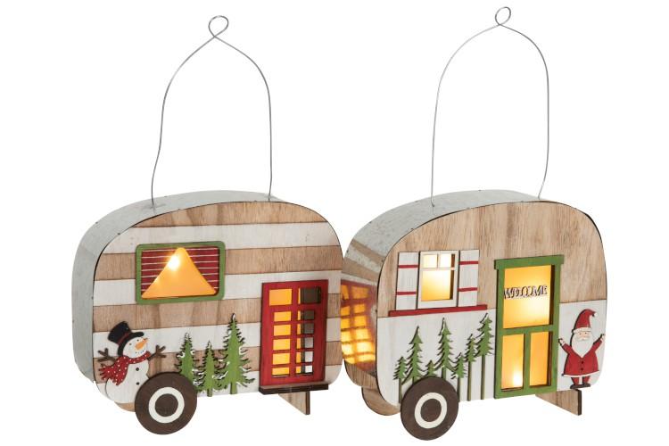 Campingvogn med LED-lys i tre/metall, grønn
