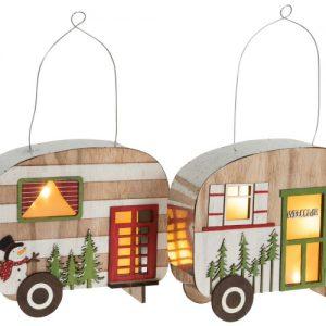 Campingvogn med LED-lys i tre/metall, rød