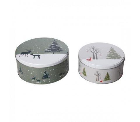 Christmas nature metallboks grå, liten