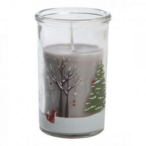 Lys i glass, christmas nature grå