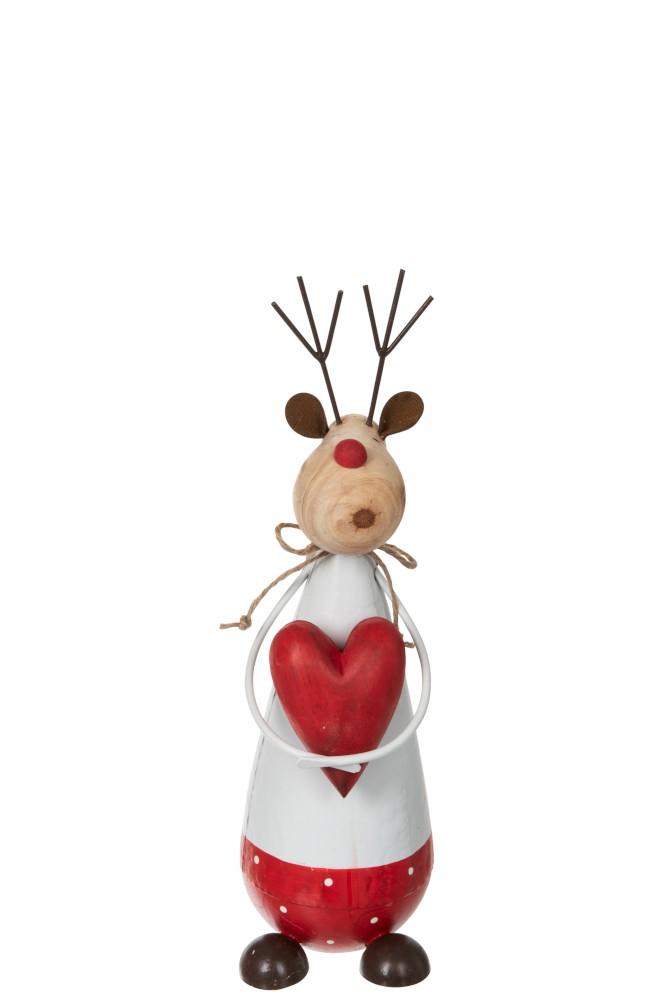 Reinsdyr med rødt hjerte, metall/tre hvit/rød, liten
