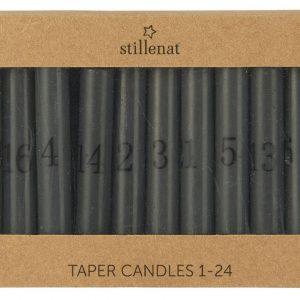 Kalenderlys 1-24 bedelys mørkegrå m/sorte tall