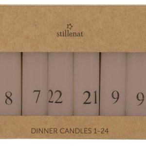 Kalenderlys 1-24 bedelys malva m/sorte tal