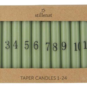 Kalenderlys 1-24 bedelys støvgrønn m/sorte tall