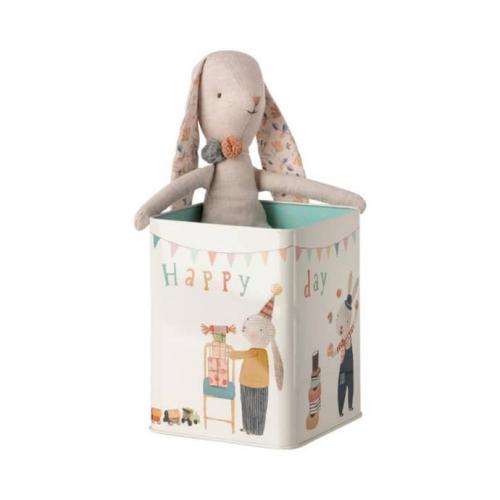 Happy day kanin i metall boks